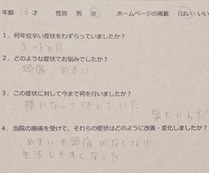 「薬でも治らなかった起立性調節障害が整体で改善」したという横浜市のA.Mさん