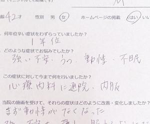 「強い不安を伴う鬱が整体で改善」したという横浜市のMさん